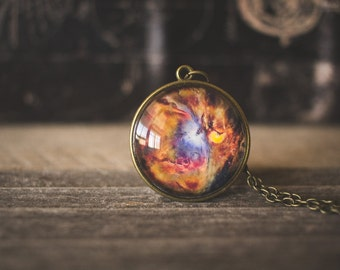 Galaxy Nebula Necklace, Space Jewelry, Orion Nebula Necklace, Galaxy Pendant, Orange Red Blue, Space Gift, Glass Dome Necklace