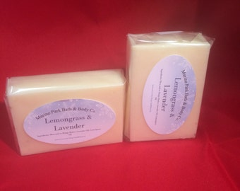 All Natural Handmade Lemongrass Lavender Soap made with Shea Butter - Gentle and Moisturizing Soap