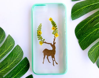 Pressed Flower iPhone Bumper Cases for iPhone 7, Dear Deer, Real Flower iPhone 7 Case, Pressed Flower iPhone Case, iPhone Case, Bumper Case
