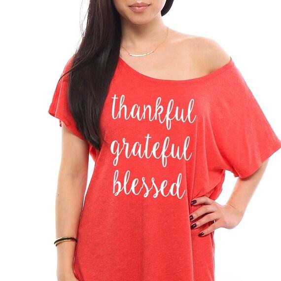 thankful grateful blessed Shirt, Thankful Shirt, Blessed Shirt, Christmas Shirt, Gift for Her, Gift for Mom Holiday TShirt, Off the Shoulder