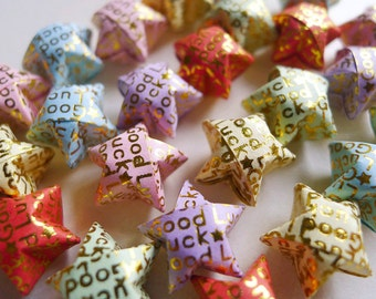 Good Luck Origami Stars - Message Embossed Wishing Stars/Embellishment/Home Decor/Enclosure