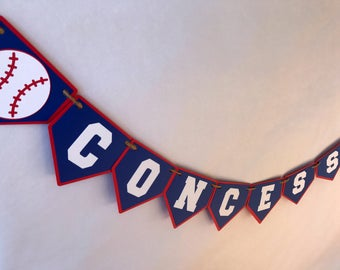 Baseball Concessions Banner - baseball party - party supplies