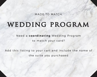 Coordinating Wedding Program Card