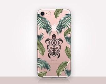 Tropical Turtle Clear Phone Case-Transparent Case-Clear Case Transparent iPhone 7-Clear iPhone 7 Plus - Gel Case - Soft TPU - iPhone SE