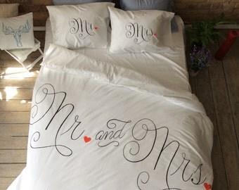 mr mrs duvet cover etsy. Black Bedroom Furniture Sets. Home Design Ideas