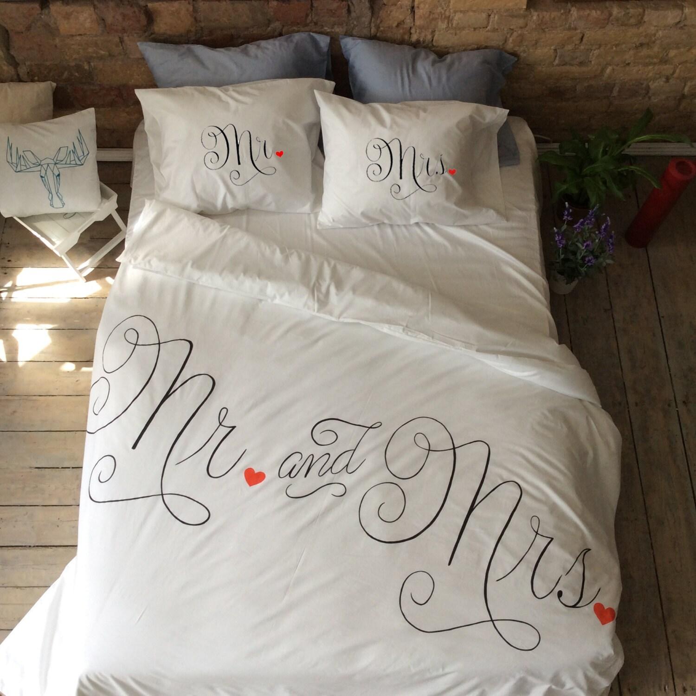 ensemble de housse de couette de mariage couple literie mr. Black Bedroom Furniture Sets. Home Design Ideas