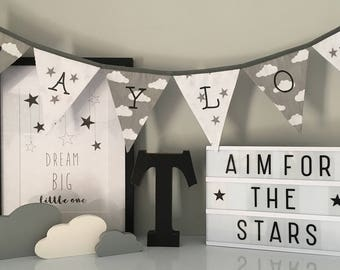 Grey Cloud and Stars Personalised Bunting