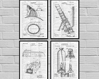 Firefighter Patent, Firefighter Poster, Firefighter Art, Firefighter Decor, Firefighter Wall Art, Firefighter Blueprint, Firefighter gift