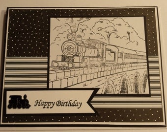 Black and White Train Birthday Card