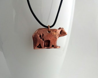 Copper Bear Pendant Necklace, Bear Necklace, Copper Gift, Anniversary Gift, Gift for Her, Animal Jewellery, Animal Necklace, Bear Jewellery