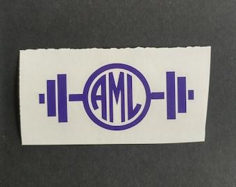 Monogram Barbell Decal, Barbell Vinyl Decal, Custom Decal, Car Decal, Yeti Decal, Vinyl Sticker