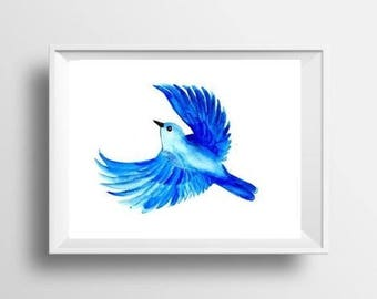 Flying blue bird watercolor painting print bird wall art decor bird poster bird decoration bird print nursery decor blue teal bird decor