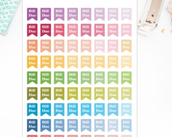 40% OFF SALE Bill Due Flag Stickers – Planner Stickers- Will Fit Any Planner – 0155