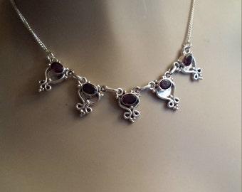 Sterling silver faceted garnet necklace