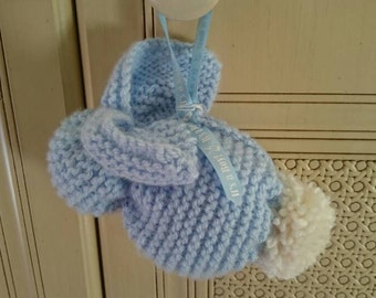 Handmade soft knitted Bunnies in pink and blue. Newborn Baby gift,congratulations,Baby shower, girl, boy.