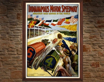 Indianapolis Motor Speedway 1909 Vintage Racing Poster