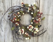 Spring Wreath-Mini Wreath-Candle Ring-Dogwood Wreath-Summer Wreath-Pip Berry Wreath-Twig Wreath-Primitive Candle Ring-Free Shipping