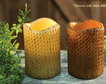 Flameless Candle-Grungy Pillar Candles-Primitive Candles - Primitive Taper Candles-Rustic Candles-Timer Candles-Free Shipping