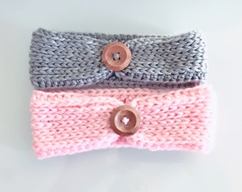 Crochet headband, crochet earwarmer, crochet headwrap, button headband, Knit look button headband, earwarmer