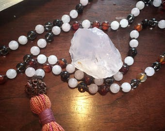 Sweet Heart Prayer Mala Necklace with Rose Quartz, Carnelian and Smokey Quartz crystal beads. For your Heart Chakra healing and balancing.