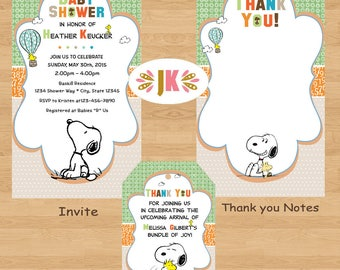 Beautiful BFF Snoopy Best Friends Baby Snoopy Baby Shower Invitations