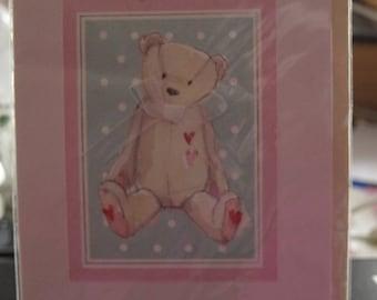 Happy Birthday  Teddy Bear Sitting Alone  Birthday Card