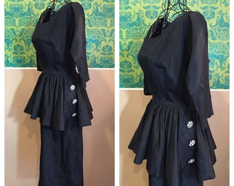 SALE - Vintage 1950s Dress - Little Black Wiggle Dress Bejeweled with Peplum - S