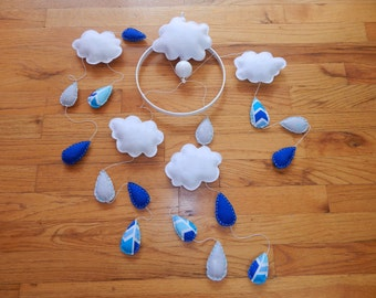 Cloud Baby Mobile, blue mobile, modern nursery, customizable mobile, raindrops, clouds, rainclouds mobile, motorized mobile, spinning mobile