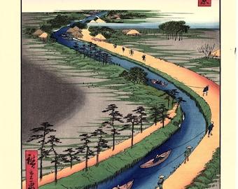 "Japanese Ukiyo-e Woodblock print, Hiroshige, ""Towboats Along the Yotsugi-dôri Canal"""