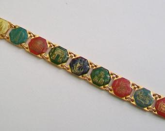 Vintage French Paris Souvenir Gold Tone Panel Bracelet