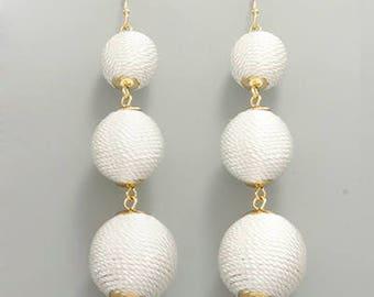 White 3 BonBon Drop Fishhook Earrings
