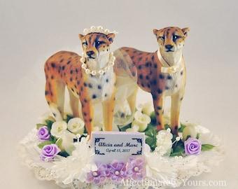 Customized Cheetah Bride | Cheetah Groom | Wedding Cake Topper | Cheetah Wedding | Anniversary Cake Topper