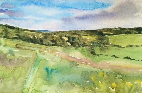 English countryside, English landscape, Landscape painting England, Landscape watercolor, English Fields, Meopham Kent, Garden of England