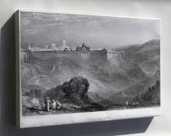 Canvas 24x36; Jerusalem Israel Engraving By William Miller C1836