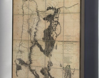 Canvas 24x36; Map N California To Columbia River 1855