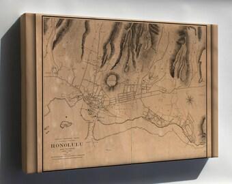 Canvas 24x36; Map Of Honolulu Hawaii 1887