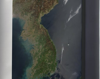 Canvas 24x36; North And South Korea Satellite Image Map