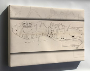 Canvas 24x36; Map Of Coney Island, Gravesend, New York 1879