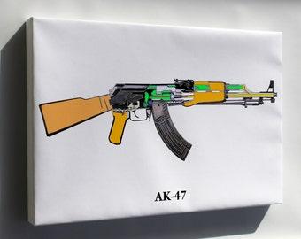 Canvas 24x36; Ak-47 Schematic