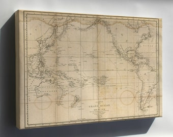 Canvas 24x36; Map Of Pacific Ocean 1788