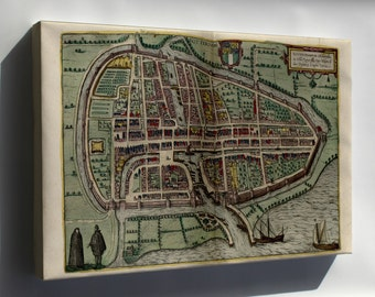 Canvas 24x36; Map Of Rotterdam 1612