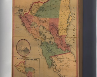 Canvas 16x24; Government Map Of Nicaragua 1856