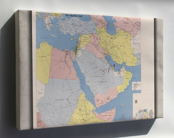 Canvas 16x24; Cia Map Of The Middle East 1991