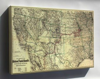 Canvas 16x24; Map Showing The Atchison, Topeka And Santa Fé Railroad 1883