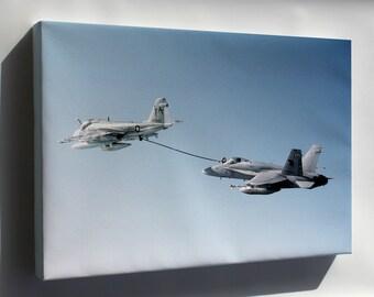 Canvas 16x24; A 18C Hornet Aircraft Refueling From A Ka 6D Intruder.Jpeg_Files