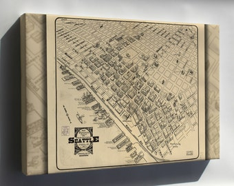 Canvas 16x24; Map Of Main Business District Seattle 1903