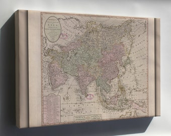 Canvas 16x24; Map Of Asia 1791; India Russia China Japan