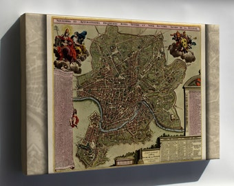 Canvas 16x24; Map Of Rome 1709