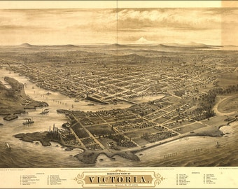 16x24 Poster; Bird'S-Eye View Map Of Victoria, Vancouver Island, B.C. 1878