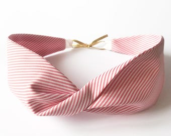 Pink striped cotton headband